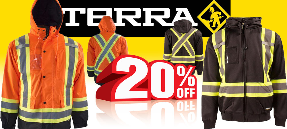 Terra - 20% Off Jackets and Hoodies.  images of Terra jacket and hoodie examples are shown