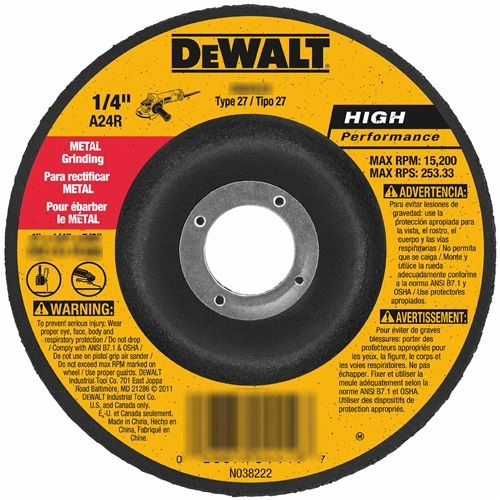 "4"" x 5/8"" HP METAL GRINDING WHEELS TYPE 27"